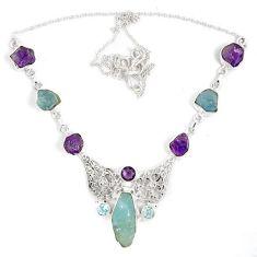 Natural aqua aquamarine amethyst rough druzy 925 silver necklace j15980