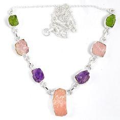 Pink kunzite rough peridot amethyst rough druzy 925 silver necklace j15983
