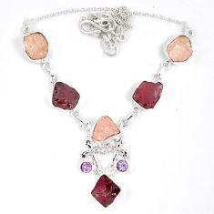 Natural pink kunzite rough tourmaline rough 925 silver cross necklace j15984
