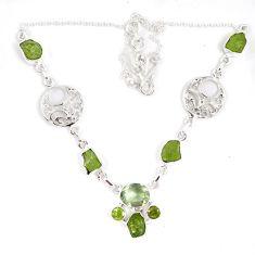 Green peridot rough druzy peridot 925 sterling silver necklace jewelry j15985