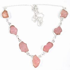 Natural pink kunzite rough 925 sterling silver necklace jewelry jewelry j15987