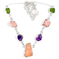 Natural pink kunzite amethyst peridot rough 925 sterling silver necklace j15988