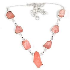 925 sterling silver natural pink kunzite rough fancy necklace jewelry j15990