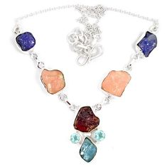 925 silver natural pink tourmaline tanzanite aquamarine rough necklace j15991