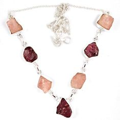 Natural pink tourmaline rough kunzite 925 sterling silver necklace j15994