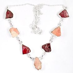Natural pink tourmaline rough kunzite rough 925 sterling silver necklace j15999