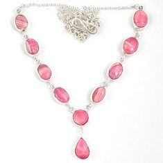 Natural pink rhodochrosite inca rose (argentina) 925 silver necklace j19374