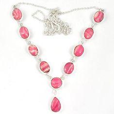 925 silver natural pink rhodochrosite inca rose (argentina) necklace j19376
