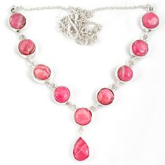 Natural pink rhodochrosite inca rose (argentina) 925 silver necklace j19379