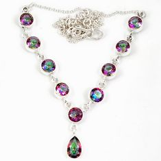 Multi color rainbow topaz pear round 925 sterling silver necklace jewelry j19383