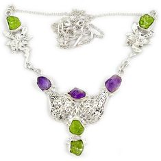 Natural green peridot amethyst rough druzy 925 silver angel wing necklace j19400