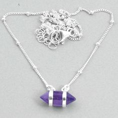 4.63cts amethyst 925 silver healing double pointer handmade necklace t34062