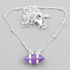 4.43cts amethyst 925 silver healing double pointer necklace t34088