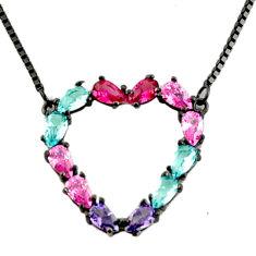 5.97cts black rhodium purple amethyst quartz ruby (lab) silver necklace c9898