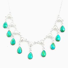 21.88cts blue arizona mohave turquoise pearl 925 sterling silver necklace r77381