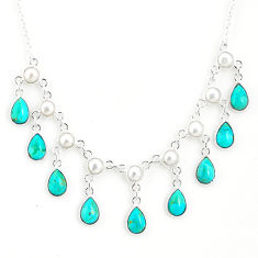 21.47cts blue arizona mohave turquoise pearl 925 sterling silver necklace r77382