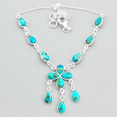 19.99cts blue copper turquoise 925 silver necklace jewelry t34127