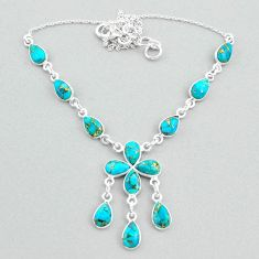 19.45cts blue copper turquoise 925 silver necklace jewelry t34129
