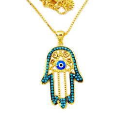 Blue evil eye talismans 925 silver 14k gold hand of god hamsa necklace c25959