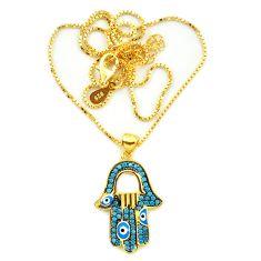 Blue evil eye talismans turquoise 925 silver 14k gold necklace c20519