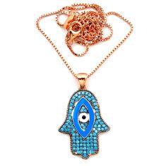 Blue evil eye talismans turquoise 925 silver 14k gold necklace c20530