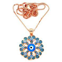 Blue evil eye talismans turquoise 925 silver 14k gold necklace c20539