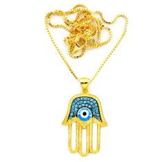 Blue evil eye talismans turquoise 925 silver 14k gold necklace jewelry c20536