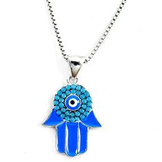 Blue evil eye talismans turquoise 925 silver hand of god hamsa necklace c20501