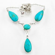 30.52cts blue sleeping beauty turquoise 925 sterling silver necklace d44538