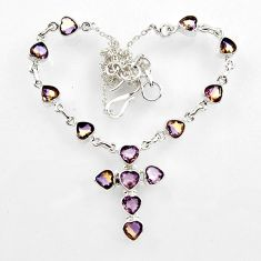 21.95cts brown smoky topaz 925 sterling silver necklace jewelry r44741