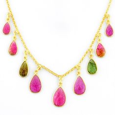 19.07cts carving natural watermelon tourmaline 14k gold collector necklace r71483