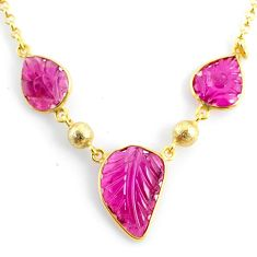 11.44cts carving natural watermelon tourmaline 14k gold collector necklace r71490