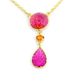 11.52cts carving natural watermelon tourmaline 14k gold collector necklace r71492