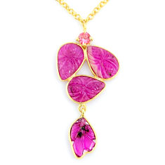 13.49cts carving natural watermelon tourmaline 14k gold collector necklace r71510