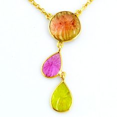 12.60cts carving natural watermelon tourmaline 14k gold collector necklace r71513