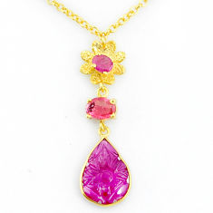 7.00cts carving natural watermelon tourmaline 14k gold collector necklace r71523