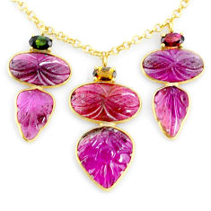 20.88cts carving natural watermelon tourmaline 14k gold collector necklace r71526