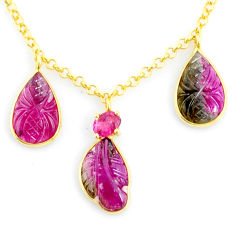 10.68cts carving natural watermelon tourmaline 14k gold collector necklace r71527