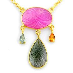 12.83cts carving natural watermelon tourmaline 14k gold collector necklace r71529