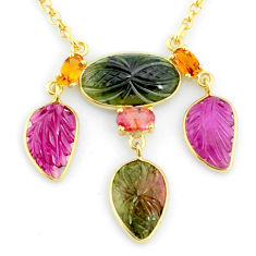 16.54cts carving natural watermelon tourmaline 14k gold collector necklace r71533