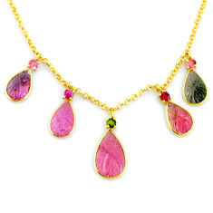15.67cts carving natural watermelon tourmaline 14k gold handmade necklace r71534