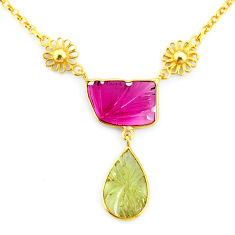 12.91cts carving natural watermelon tourmaline 14k gold collector necklace r71541