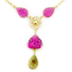 15.55cts carving natural watermelon tourmaline 14k gold collector necklace r71558