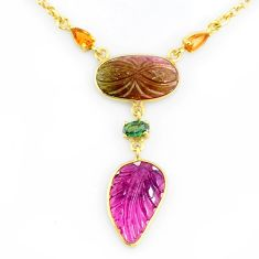 12.03cts carving natural watermelon tourmaline 14k gold collector necklace r71565