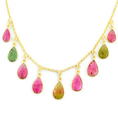 18.54cts carving natural watermelon tourmaline 14k gold collector necklace r71569