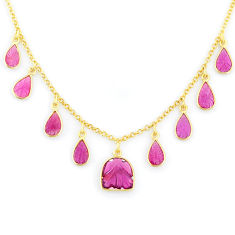 14.90cts carving natural watermelon tourmaline 14k gold collector necklace r71570