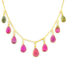 18.94cts carving natural watermelon tourmaline 14k gold collector necklace r71571