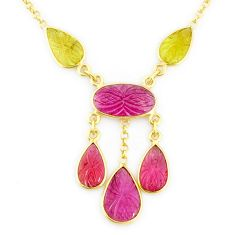 13.55cts carving natural watermelon tourmaline 14k gold collector necklace r71581