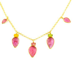 12.93cts carving natural watermelon tourmaline 14k gold collector necklace r71583