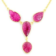 14.14cts carving natural watermelon tourmaline 14k gold collector necklace r71588
